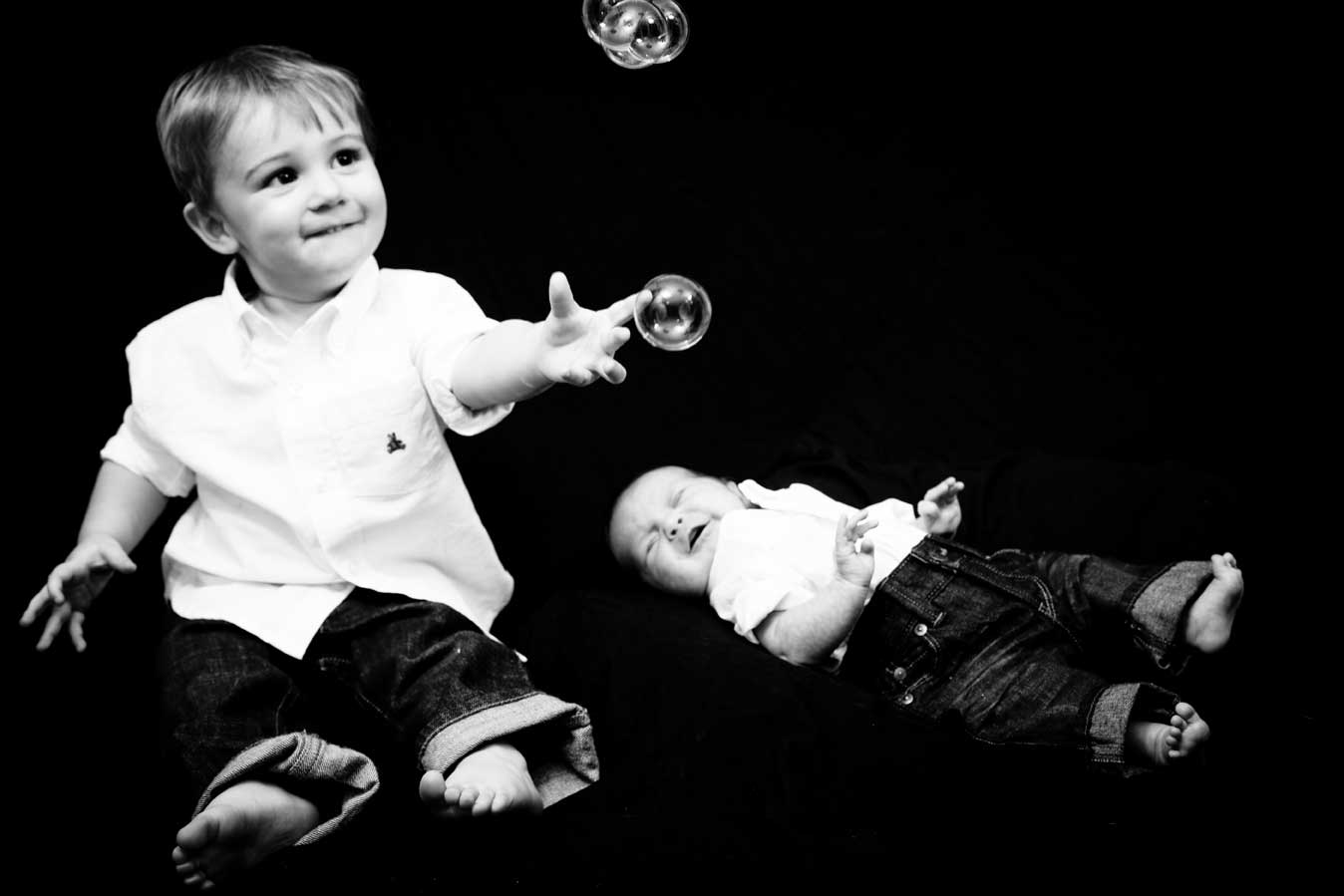 Boys and Bubbles B&W